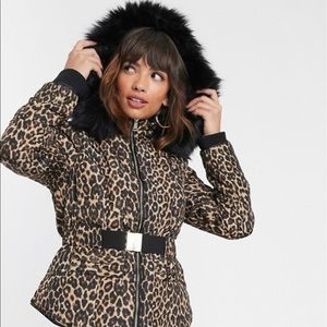 ASOS Fur Hood Cheetah Jacket